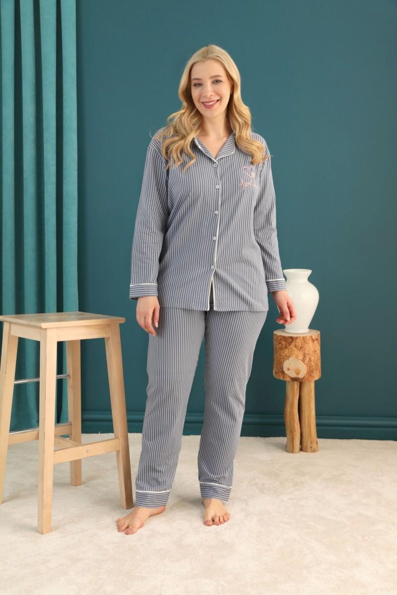 SİYAH İNCİ - Pamuklu Likralı Büyük Beden Battal Düğmeli Biyeli Pijama Takım 21275072