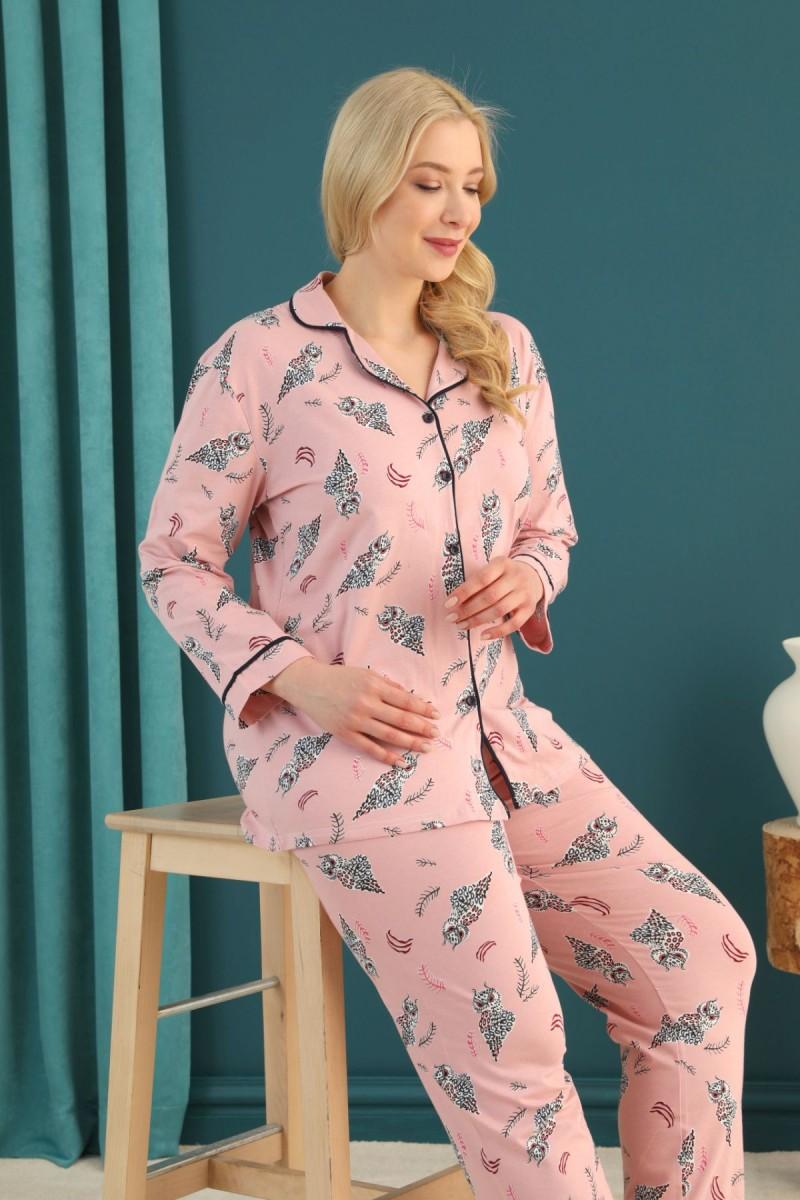 SİYAH İNCİ - Pamuklu Likralı Büyük Beden Battal Düğmeli Biyeli Pijama Takım 21275075