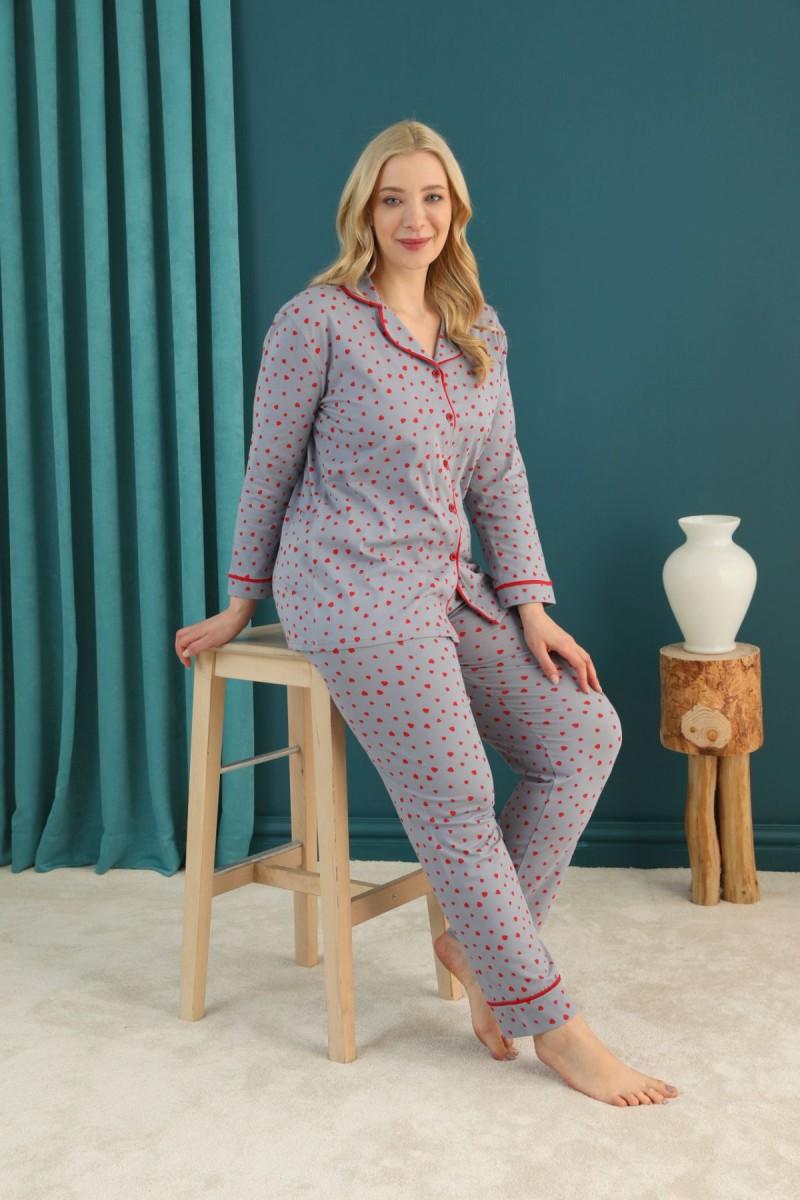 SİYAH İNCİ - Pamuklu Likralı Büyük Beden Battal Düğmeli Biyeli Pijama Takım 21275076
