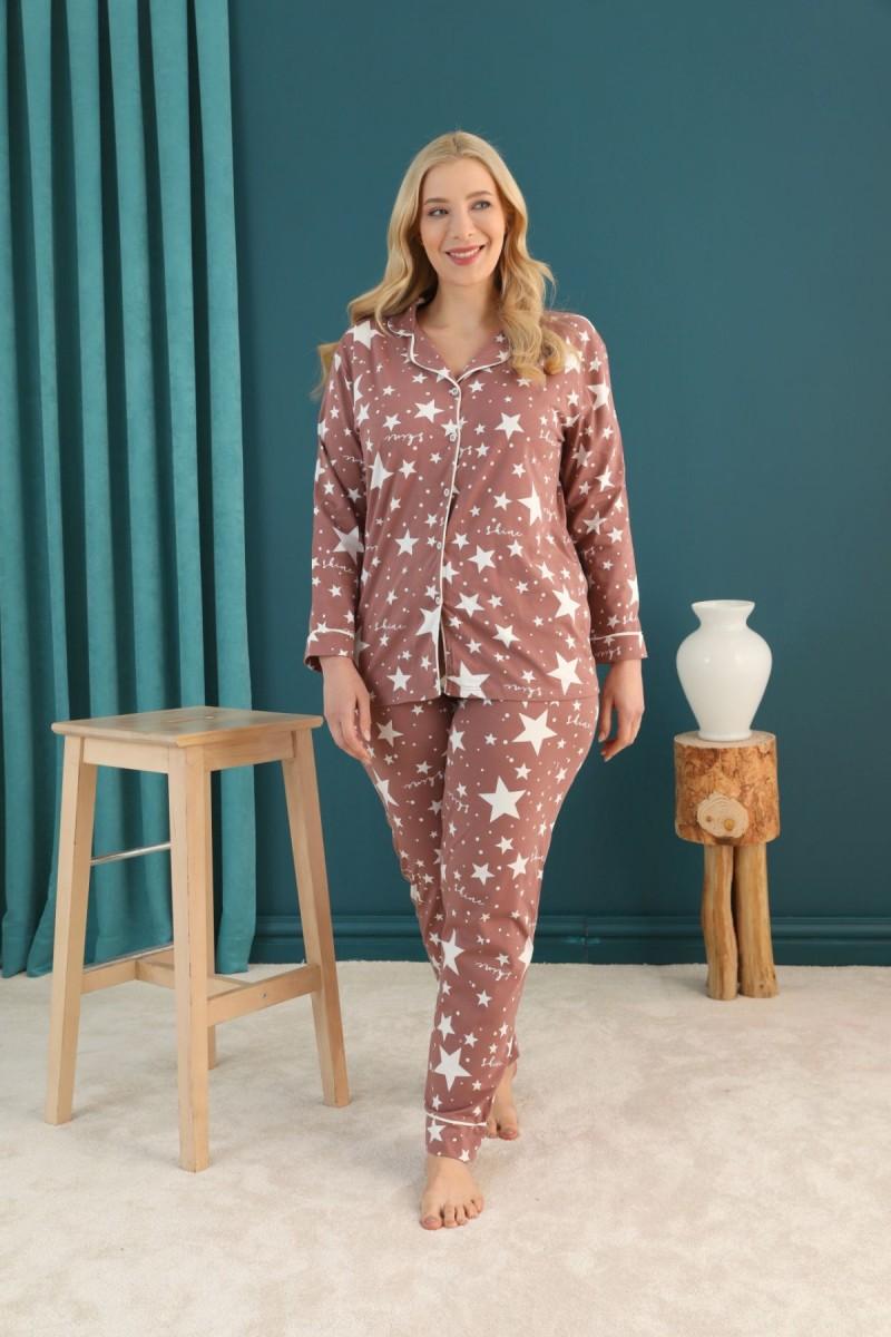 SİYAH İNCİ - Pamuklu Likralı Büyük Beden Battal Düğmeli Biyeli Pijama Takım 21275078
