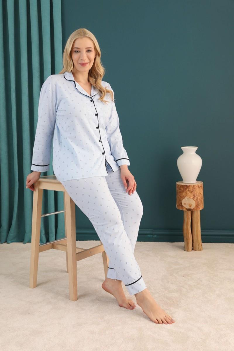 SİYAH İNCİ - Pamuklu Likralı Büyük Beden Battal Düğmeli Biyeli Pijama Takım 21275087
