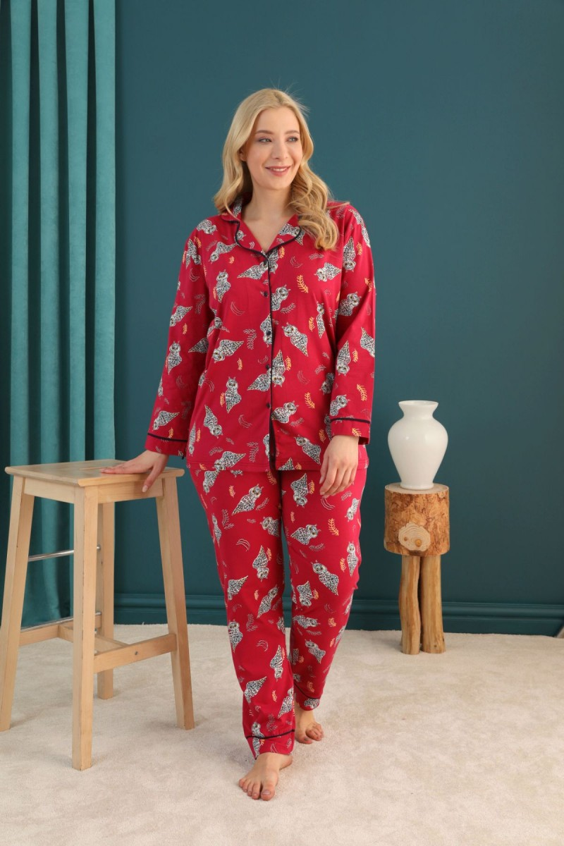 SİYAH İNCİ - Pamuklu Likralı Büyük Beden Battal Düğmeli Biyeli Pijama Takım 21275095
