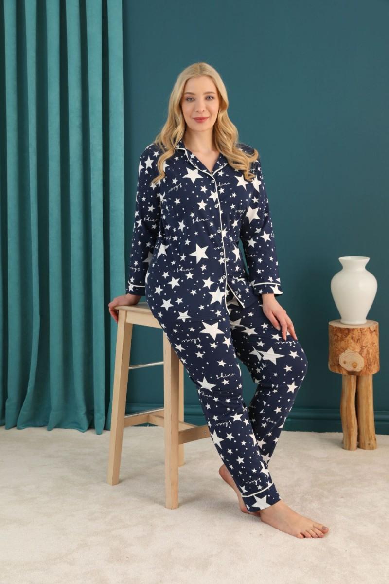 SİYAH İNCİ - Pamuklu Likralı Büyük Beden Battal Düğmeli Biyeli Pijama Takım 21275102