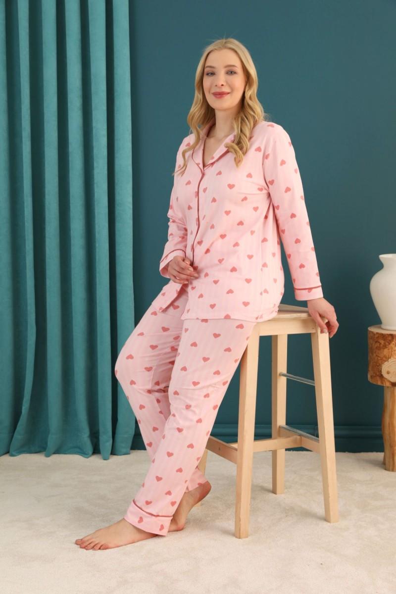 SİYAH İNCİ - Pamuklu Likralı Büyük Beden Battal Düğmeli Biyeli Pijama Takım 21275103