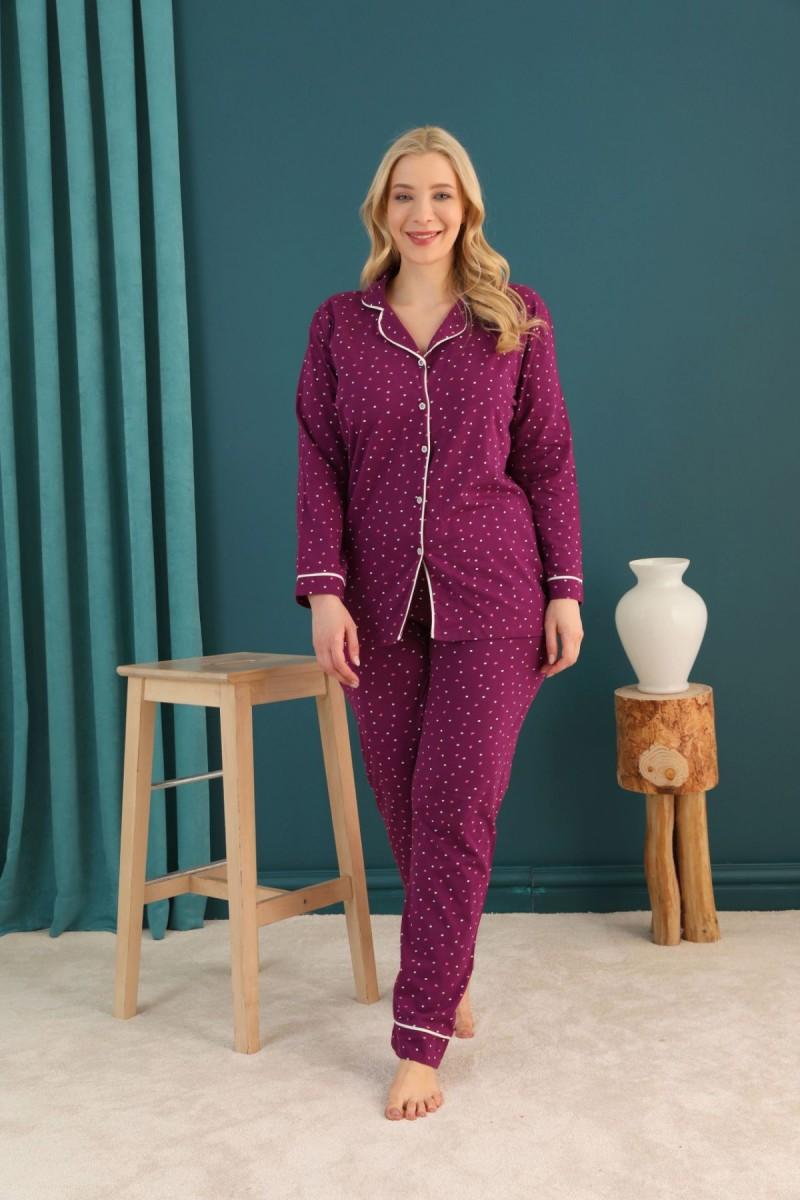 SİYAH İNCİ - Pamuklu Likralı Büyük Beden Battal Düğmeli Biyeli Pijama Takım 21275104