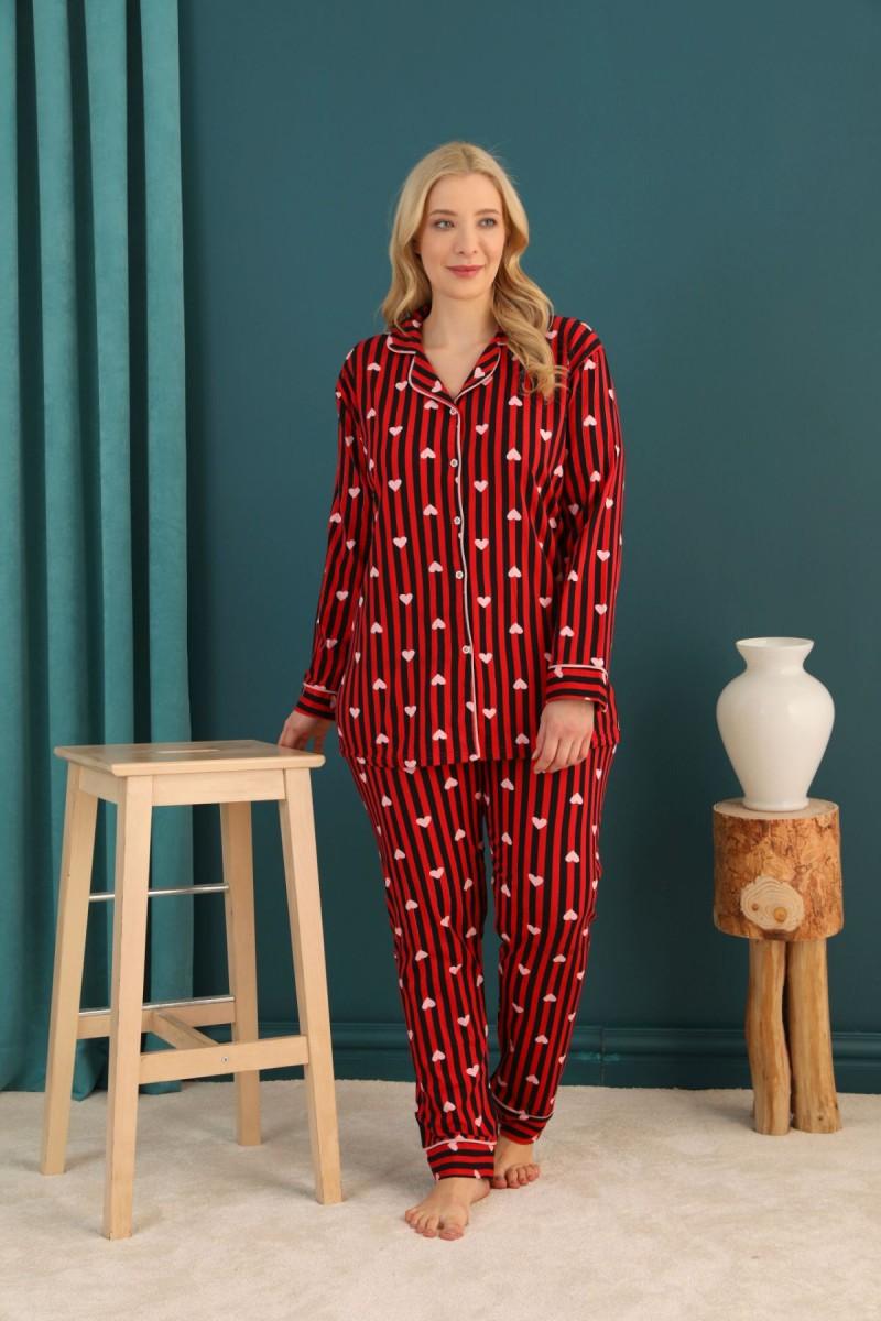 SİYAH İNCİ - Pamuklu Likralı Büyük Beden Battal Düğmeli Biyeli Pijama Takım 21275107