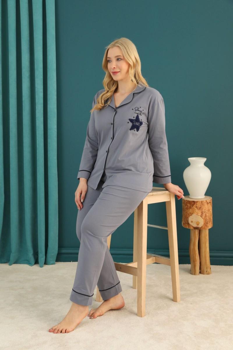 SİYAH İNCİ - Pamuklu Likralı Büyük Beden Battal Düğmeli Biyeli Pijama Takım 21275108