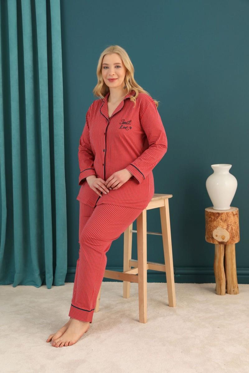 SİYAH İNCİ - Pamuklu Likralı Büyük Beden Battal Düğmeli Biyeli Pijama Takım 21275109