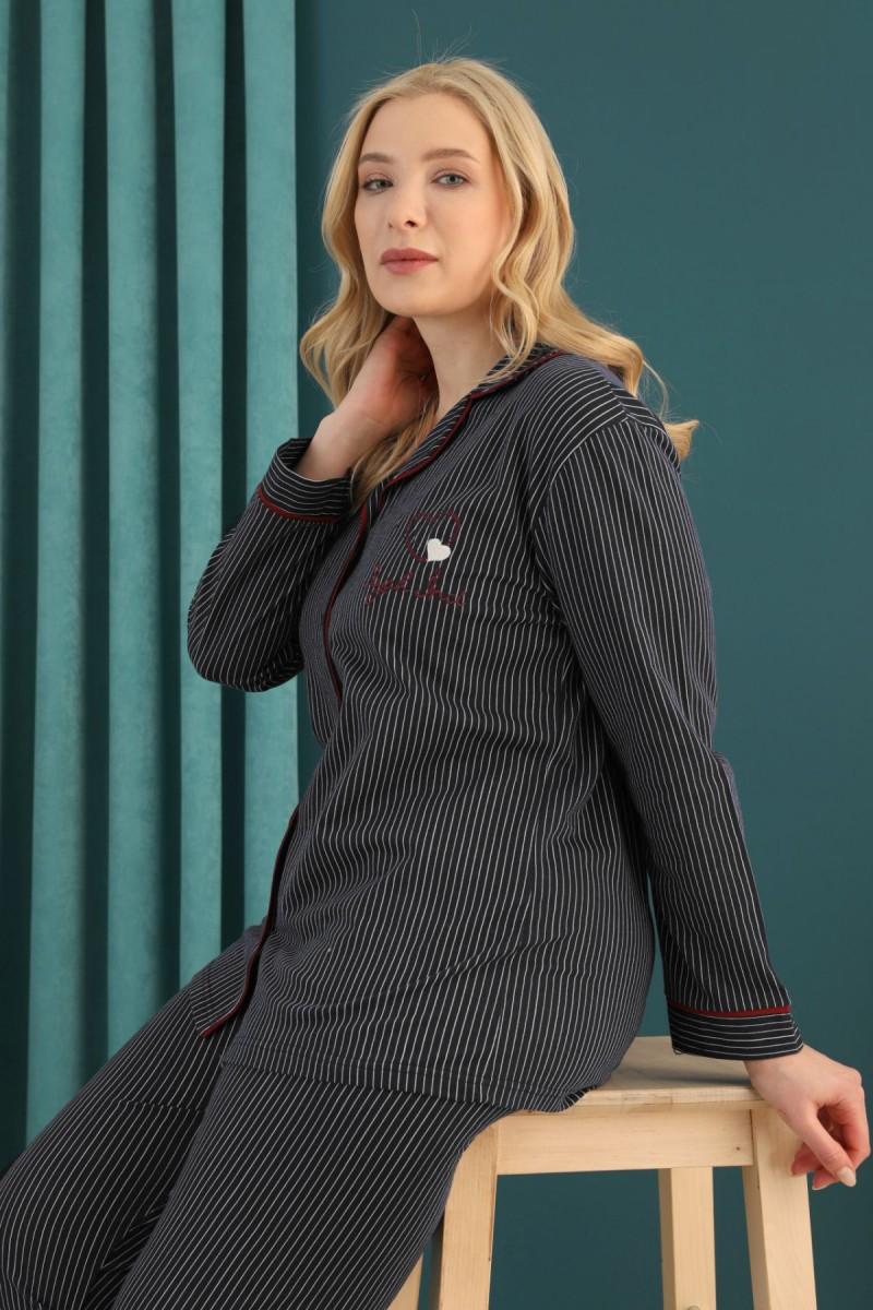 SİYAH İNCİ - Pamuklu Likralı Büyük Beden Battal Düğmeli Biyeli Pijama Takım 21275112
