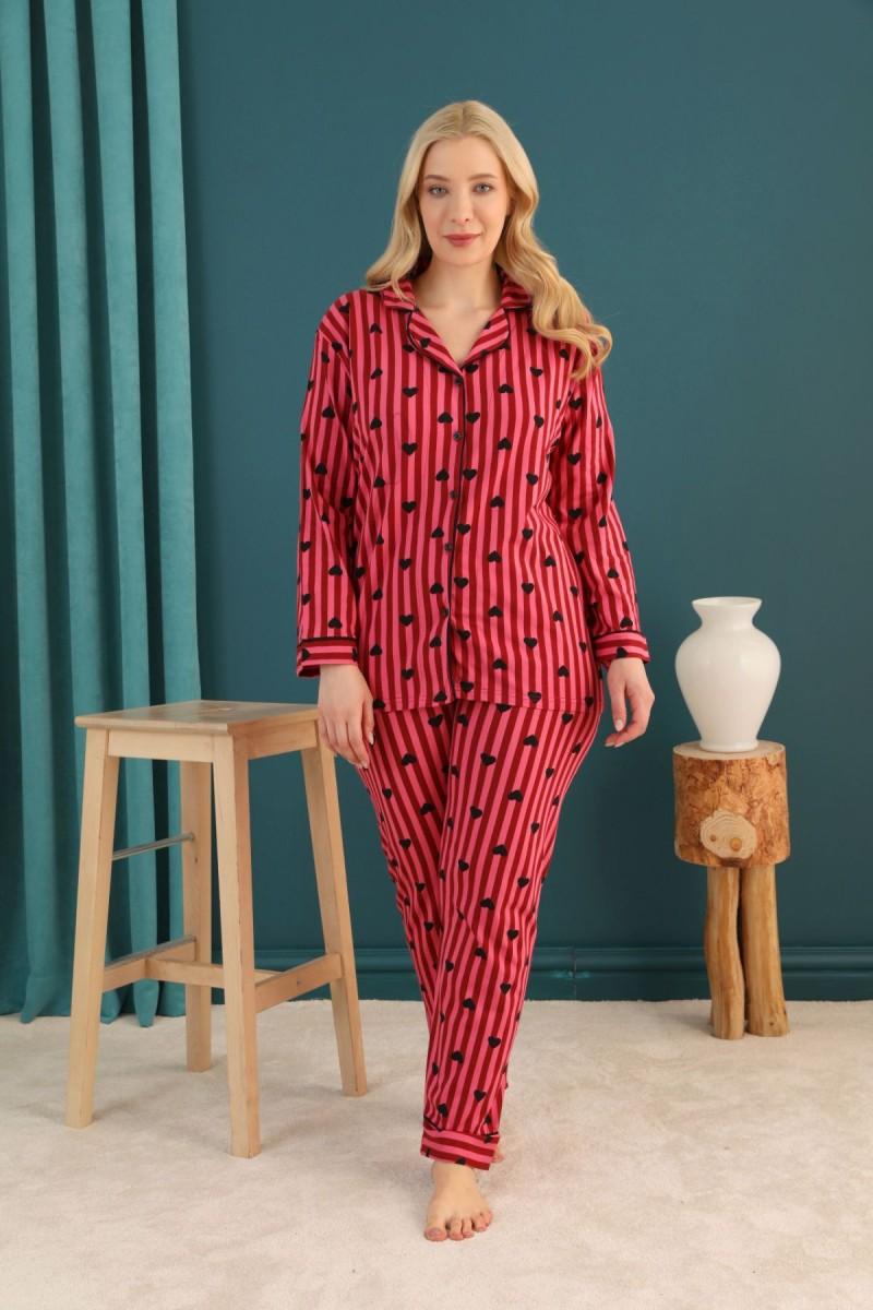 SİYAH İNCİ - Pamuklu Likralı Büyük Beden Battal Düğmeli Biyeli Pijama Takım 21275116
