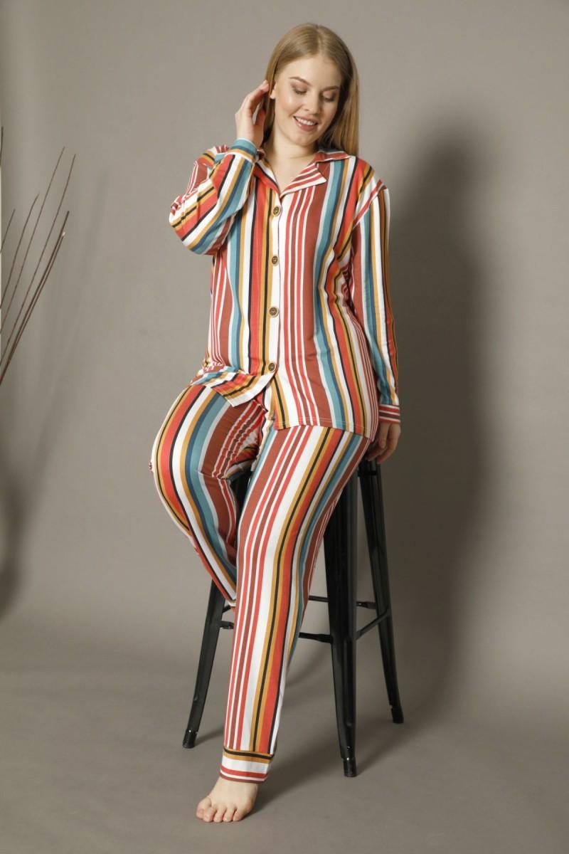 SİYAH İNCİ - Pamuklu Likralı Büyük Beden Battal Düğmeli Pijama Takım 21275005
