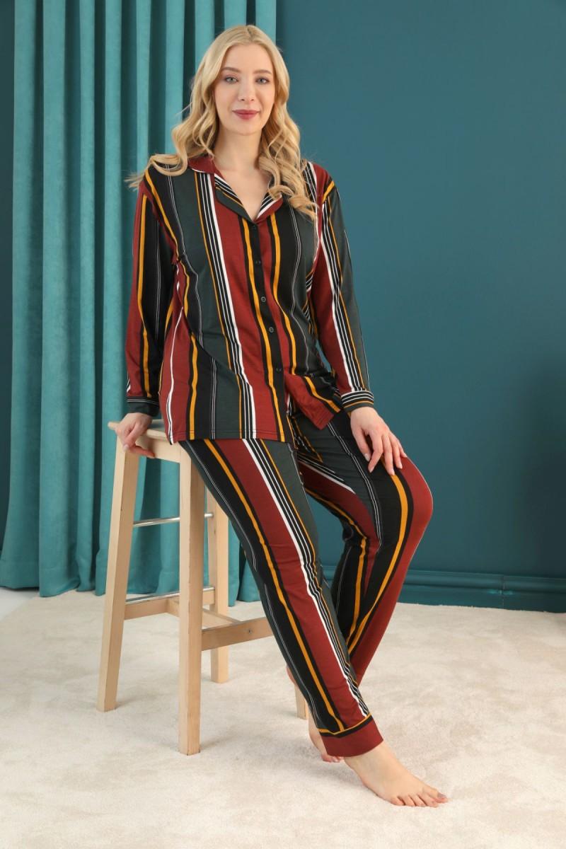 SİYAH İNCİ - Pamuklu Likralı Büyük Beden Battal Düğmeli Pijama Takım 21275010