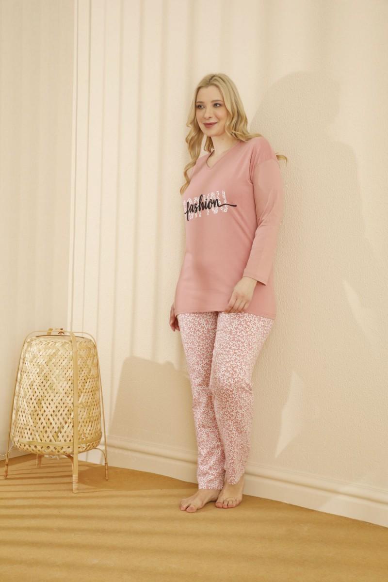 SİYAH İNCİ - Pamuklu Likralı Büyük Beden Battal Pijama Takım 21265618