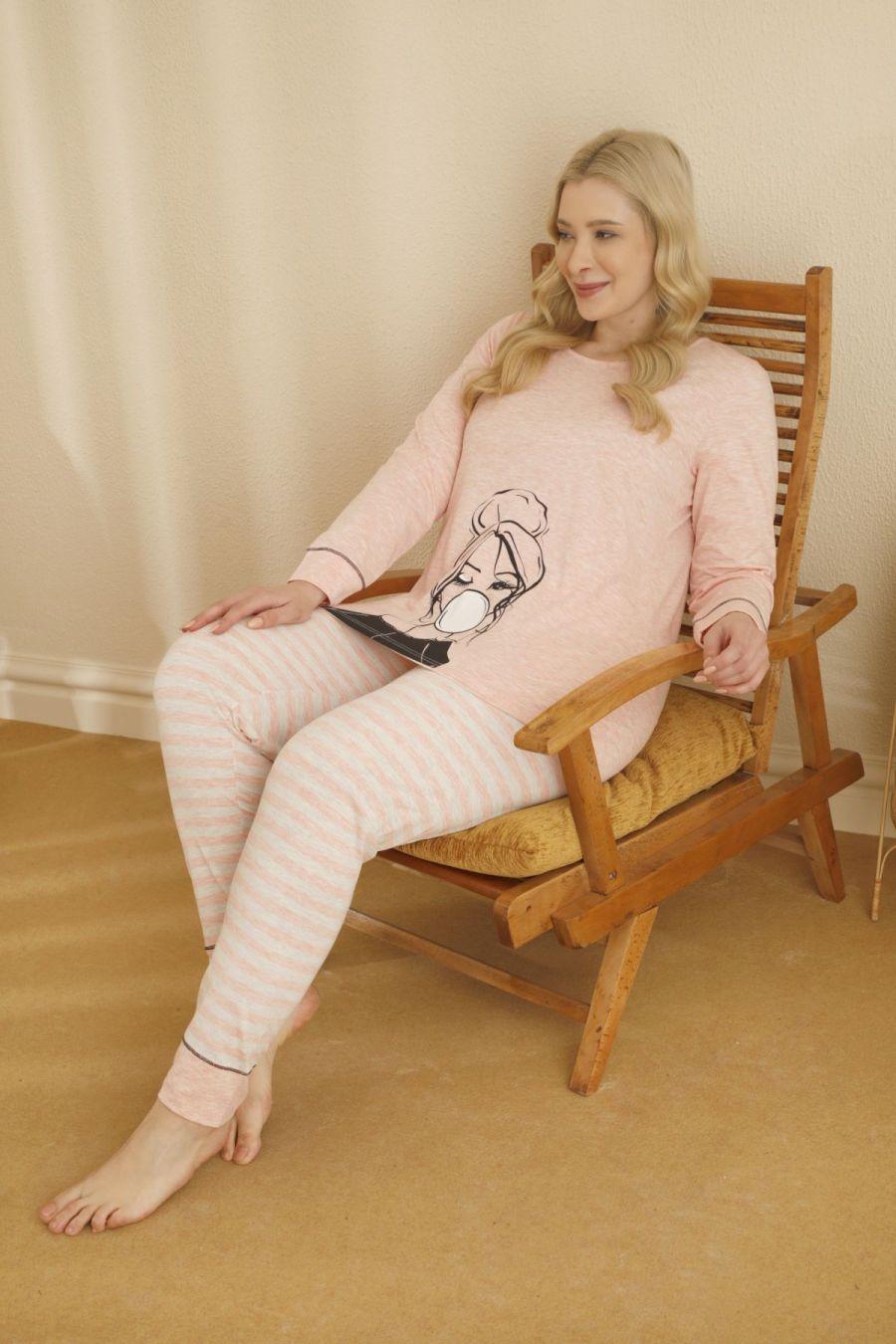 Pamuklu Likralı Büyük Beden Battal Pijama Takım 21265679