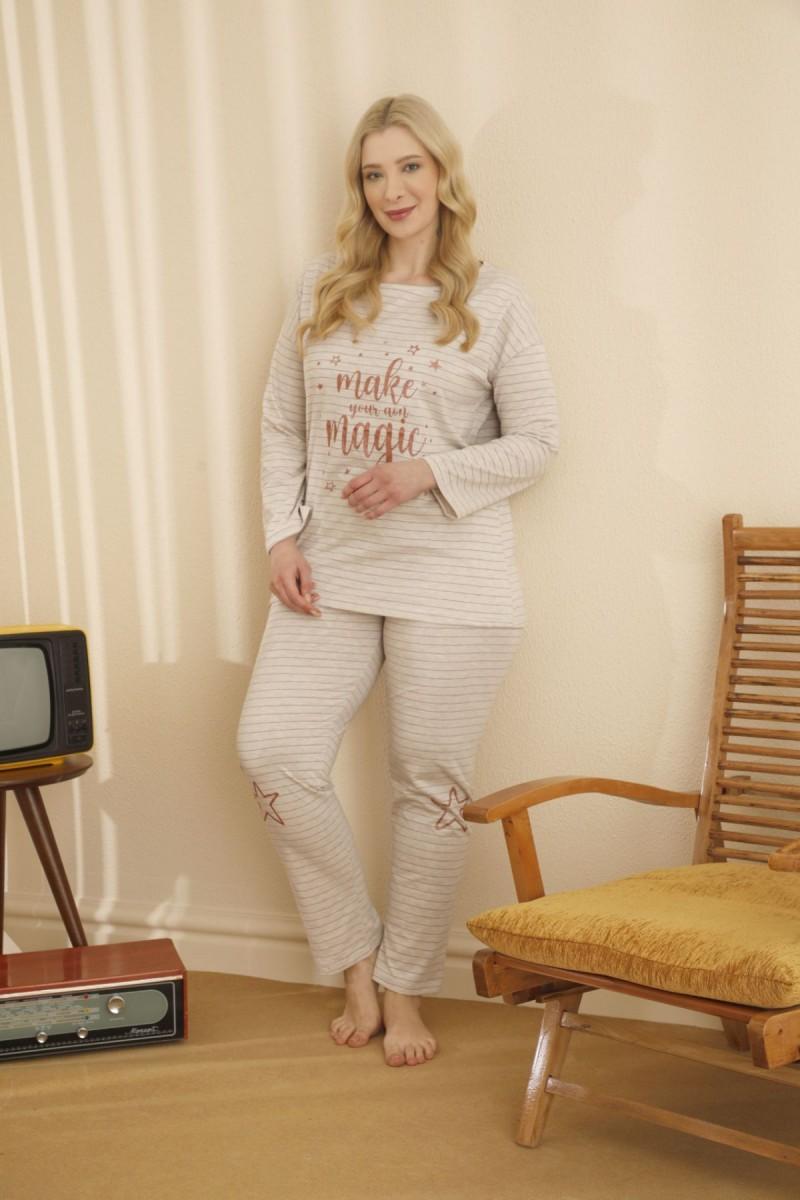SİYAH İNCİ - Pamuklu Likralı Büyük Beden Battal Pijama Takım 21265689