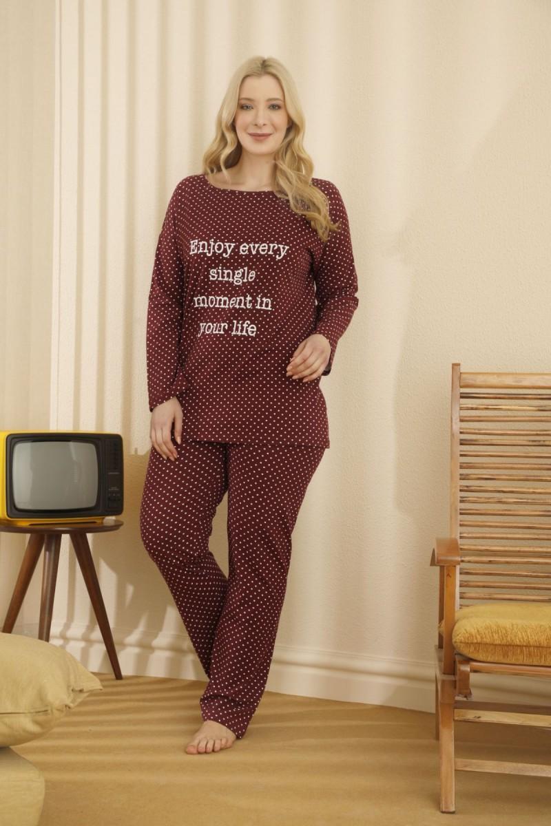 SİYAH İNCİ - Pamuklu Likralı Büyük Beden Battal Pijama Takım 21265697