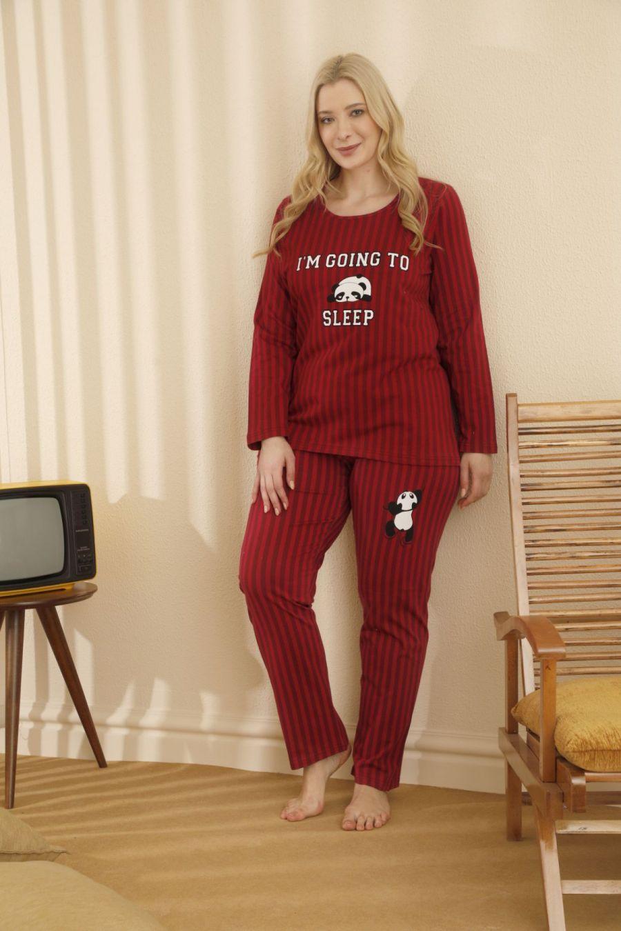 Pamuklu Likralı Büyük Beden Battal Pijama Takım 21265702