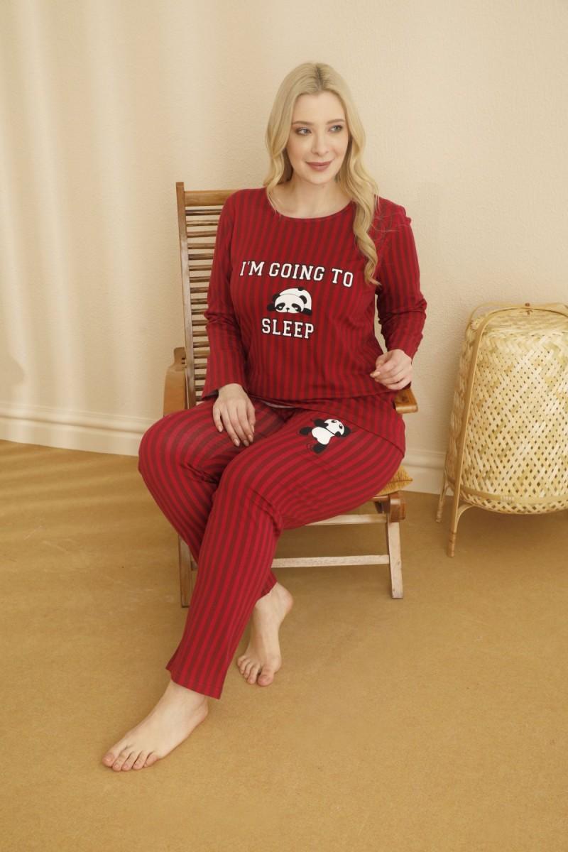 SİYAH İNCİ - Pamuklu Likralı Büyük Beden Battal Pijama Takım 21265702