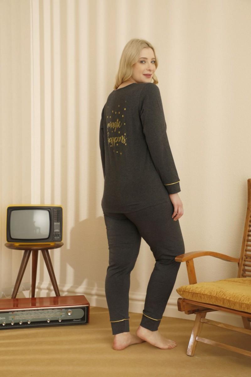 SİYAH İNCİ - Pamuklu Likralı Büyük Beden Battal Pijama Takım 21265728
