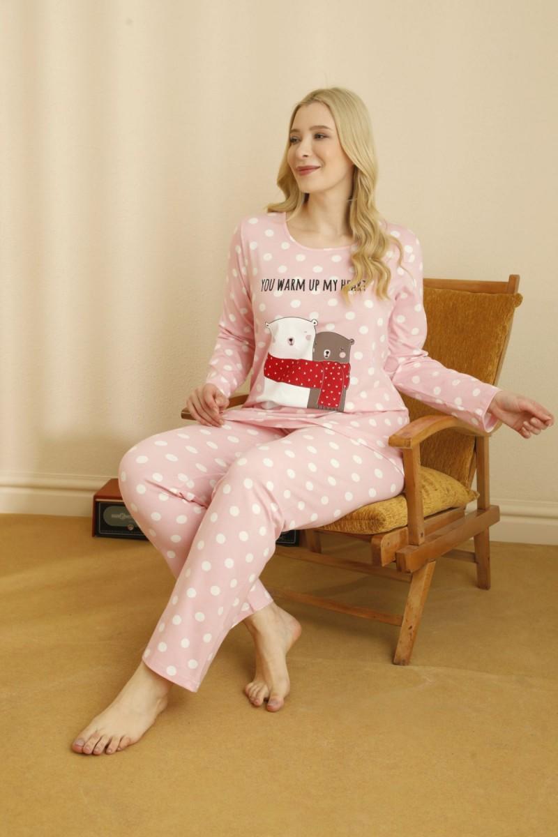 SİYAH İNCİ - Pamuklu Likralı Büyük Beden Battal Pijama Takım 21265747