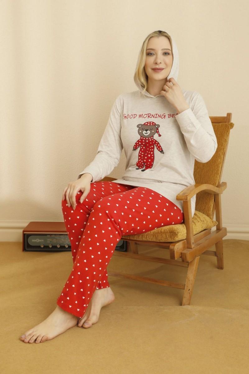 SİYAH İNCİ - Pamuklu Likralı Büyük Beden Battal Pijama Takım 21265752