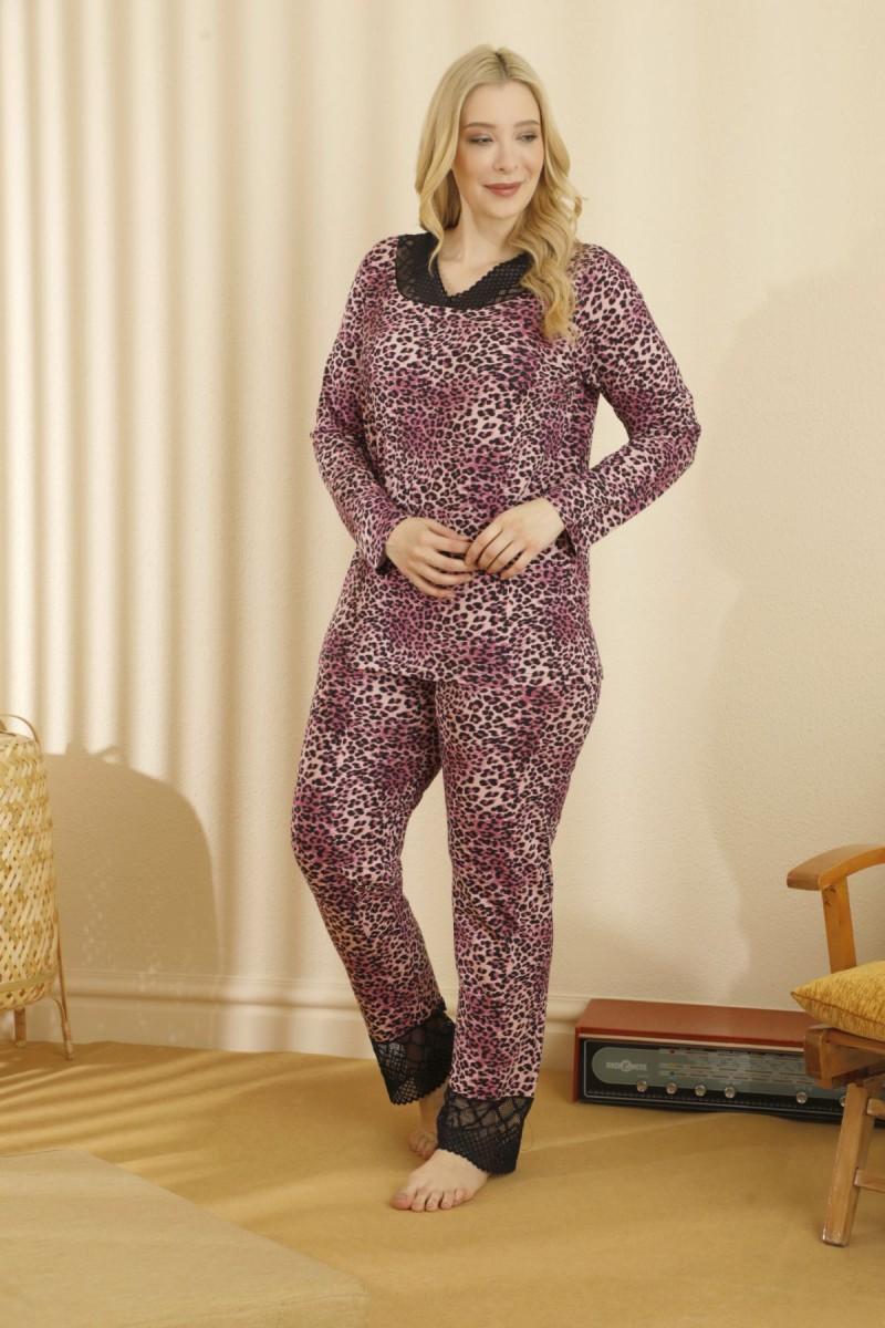 SİYAH İNCİ - Pamuklu Likralı Büyük Beden Battal Pijama Takım 21265756
