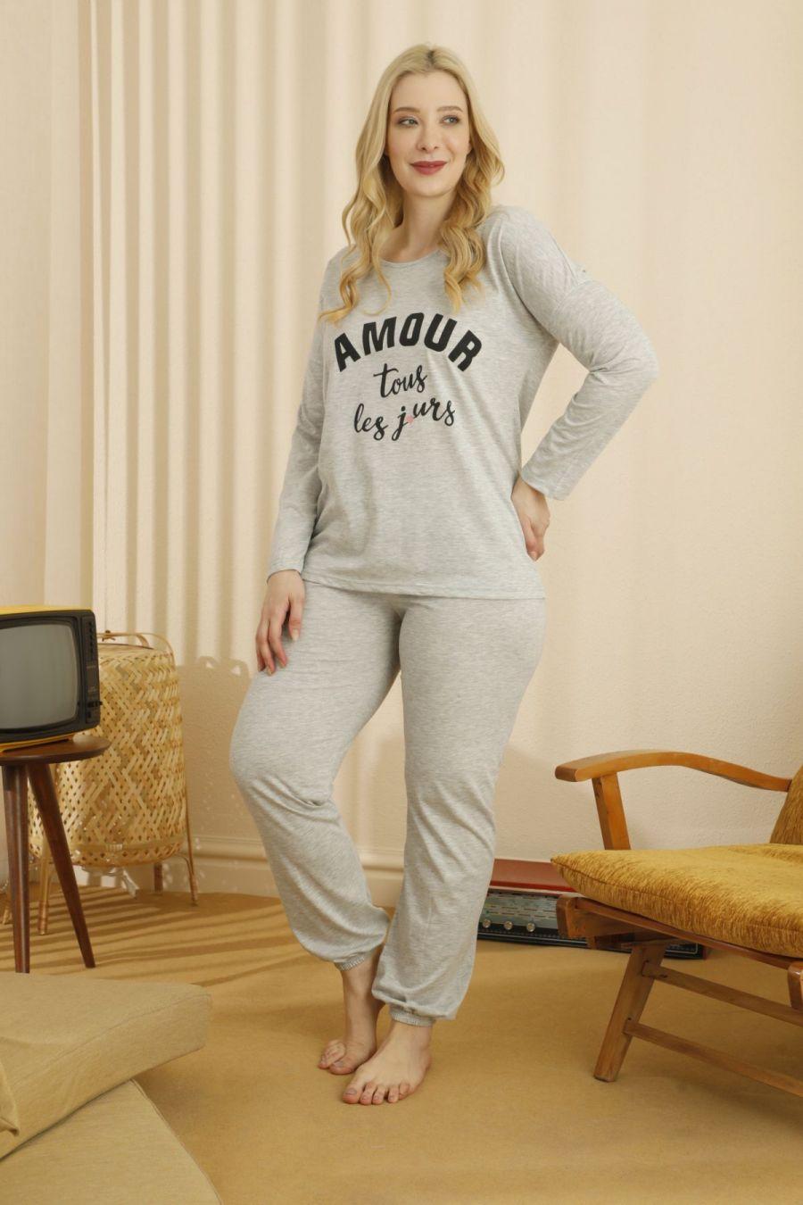 Pamuklu Likralı Büyük Beden Battal Pijama Takım 21265795