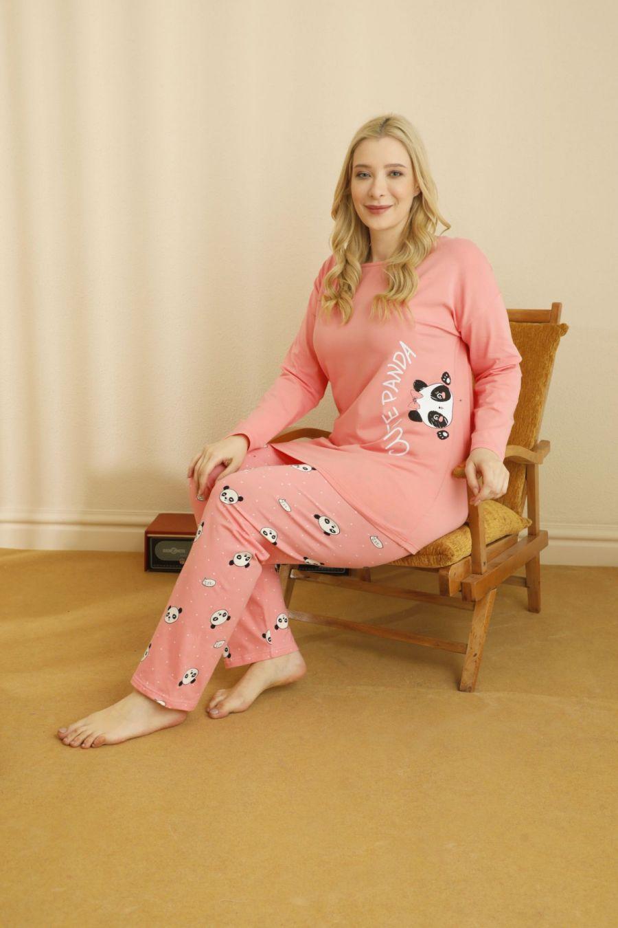 Pamuklu Likralı Büyük Beden Battal Pijama Takım 21265803