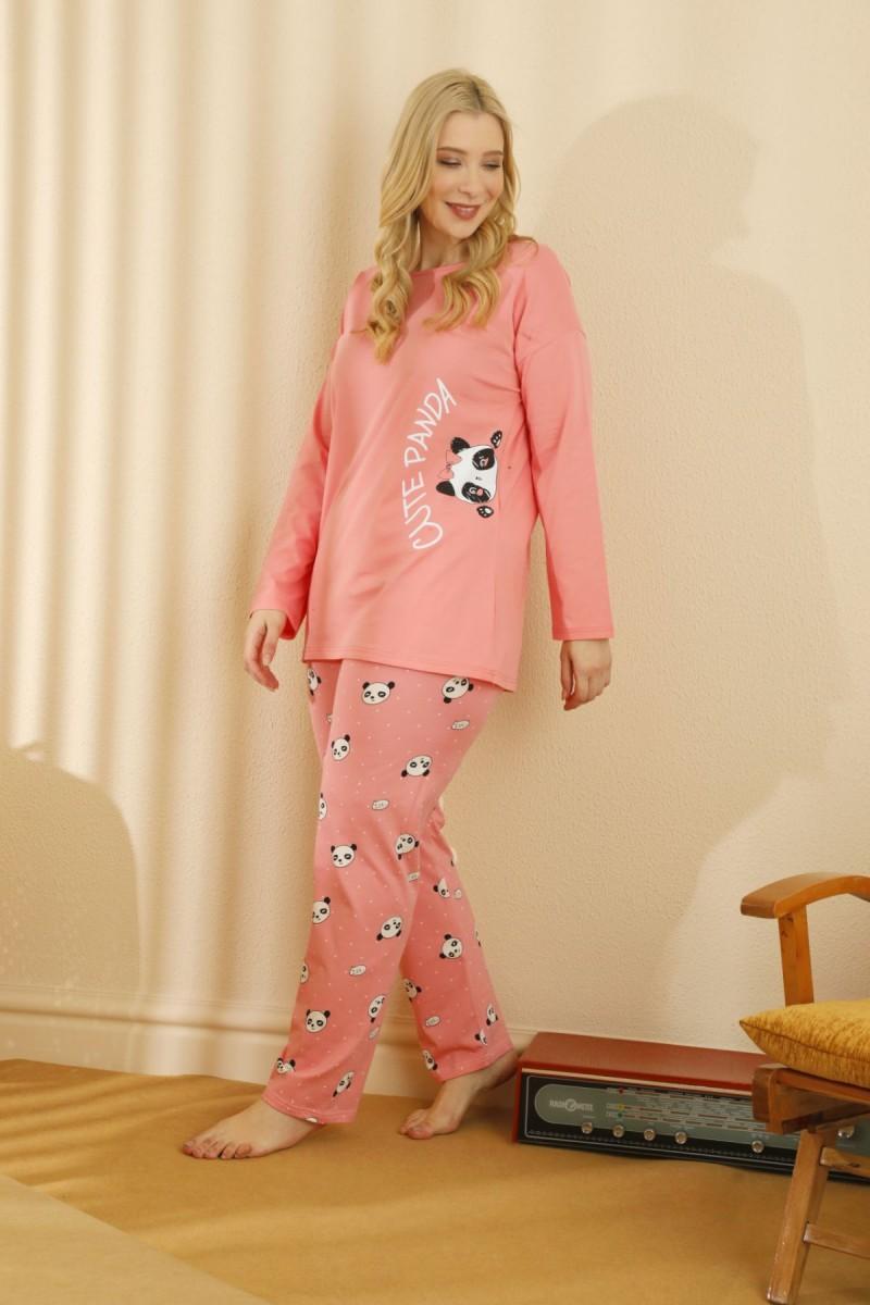 SİYAH İNCİ - Pamuklu Likralı Büyük Beden Battal Pijama Takım 21265803