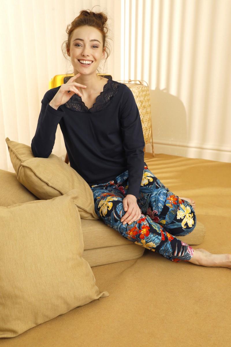 SİYAH İNCİ - Pamuklu Likralı Dantelli Pijama Takım 21260431