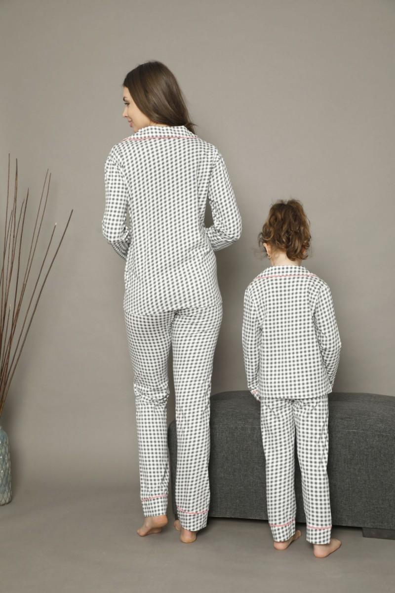 SİYAH İNCİ - Pamuklu Likralı Düğmeli Biyeli Pijama Takım 21273003