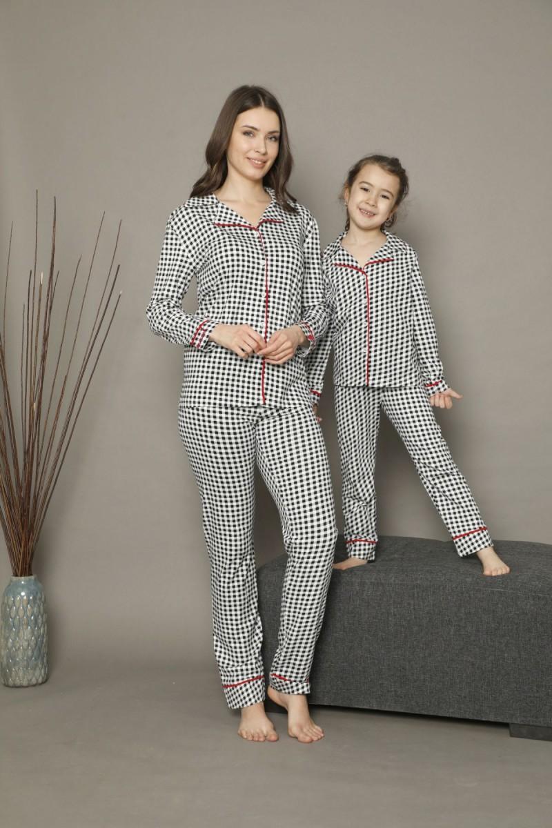 SİYAH İNCİ - Pamuklu Likralı Düğmeli Biyeli Pijama Takım 21273007