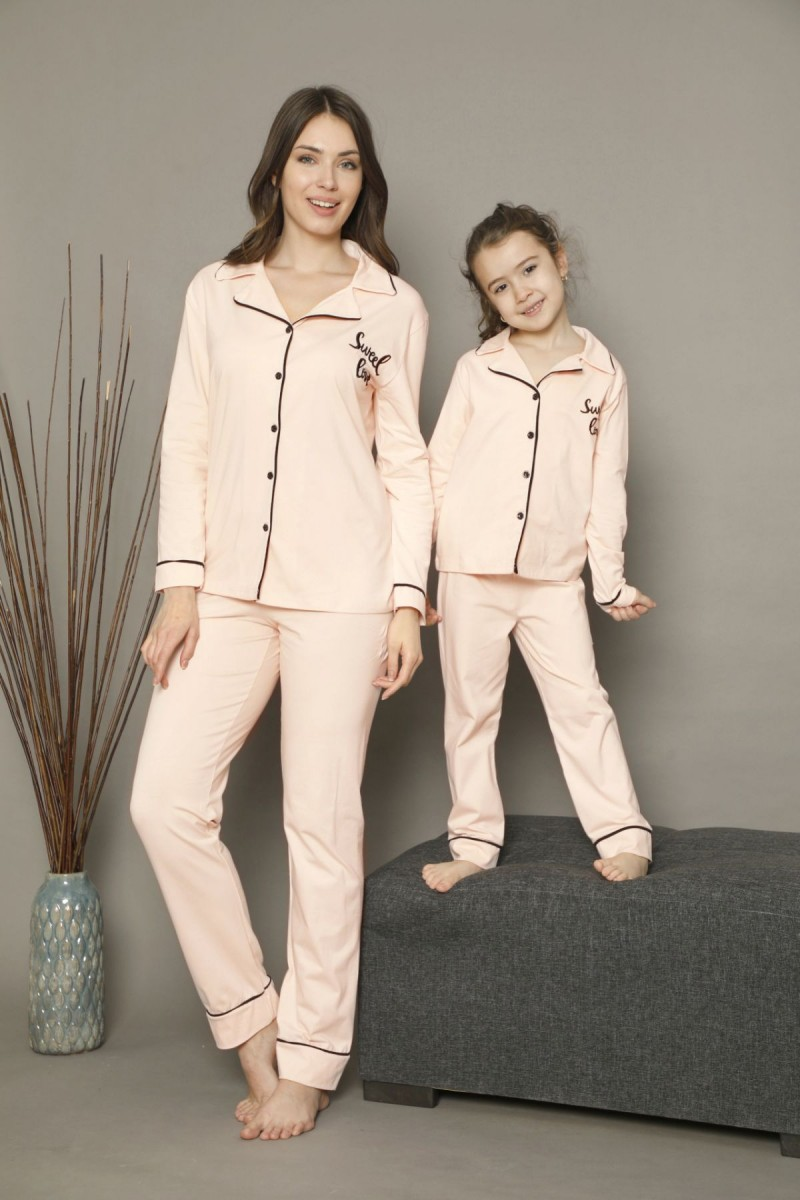 SİYAH İNCİ - Pamuklu Likralı Düğmeli Biyeli Pijama Takım 21273010