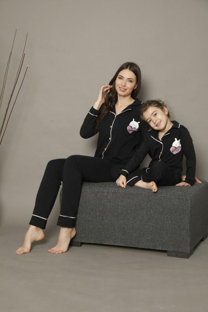 SİYAH İNCİ - Pamuklu Likralı Düğmeli Biyeli Pijama Takım 21273011
