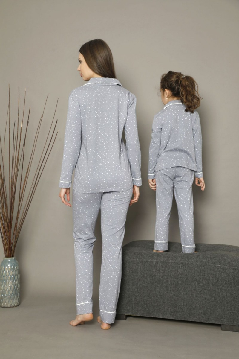 SİYAH İNCİ - Pamuklu Likralı Düğmeli Biyeli Pijama Takım 21273014