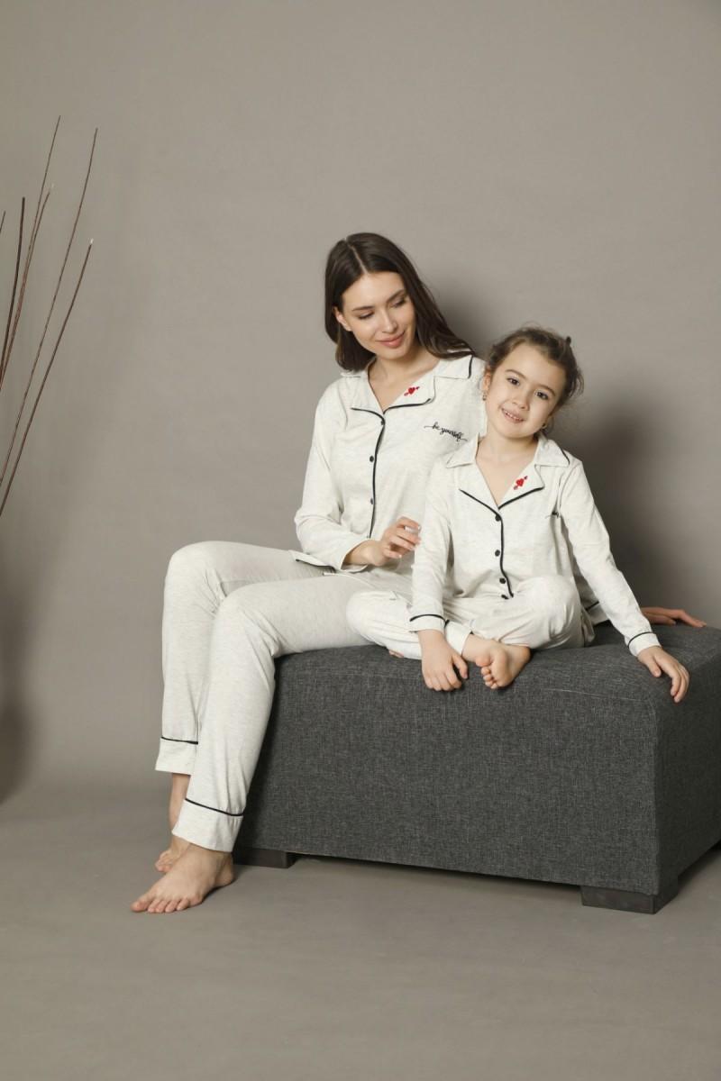SİYAH İNCİ - Pamuklu Likralı Düğmeli Biyeli Pijama Takım 21273016