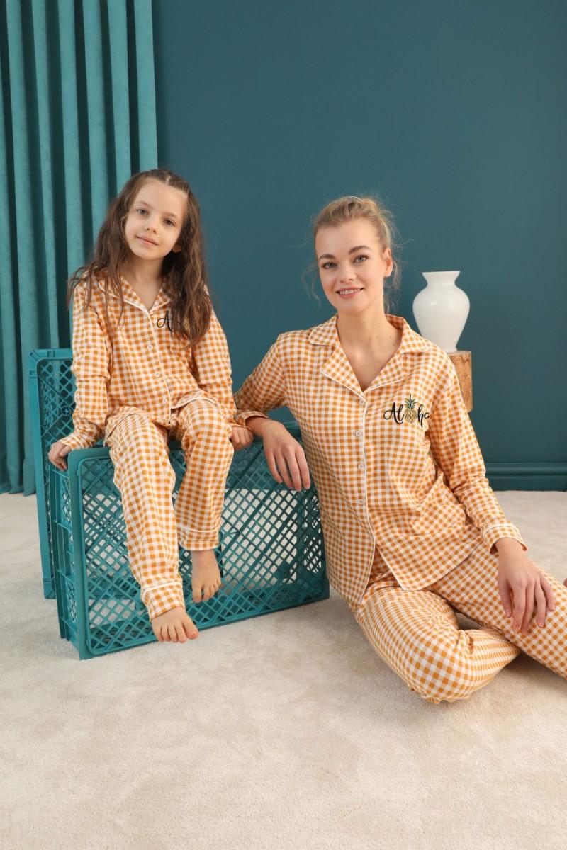 SİYAH İNCİ - Pamuklu Likralı Düğmeli Biyeli Pijama Takım 21273025