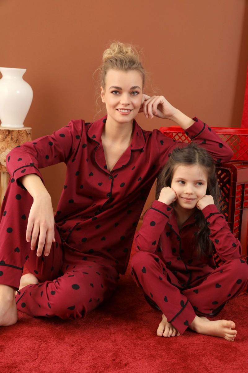 SİYAH İNCİ - Pamuklu Likralı Düğmeli Biyeli Pijama Takım 21273029