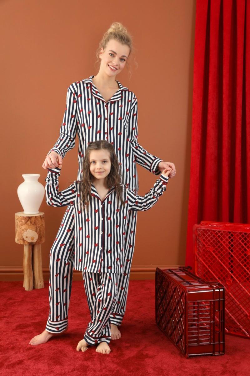 SİYAH İNCİ - Pamuklu Likralı Düğmeli Biyeli Pijama Takım 21273034