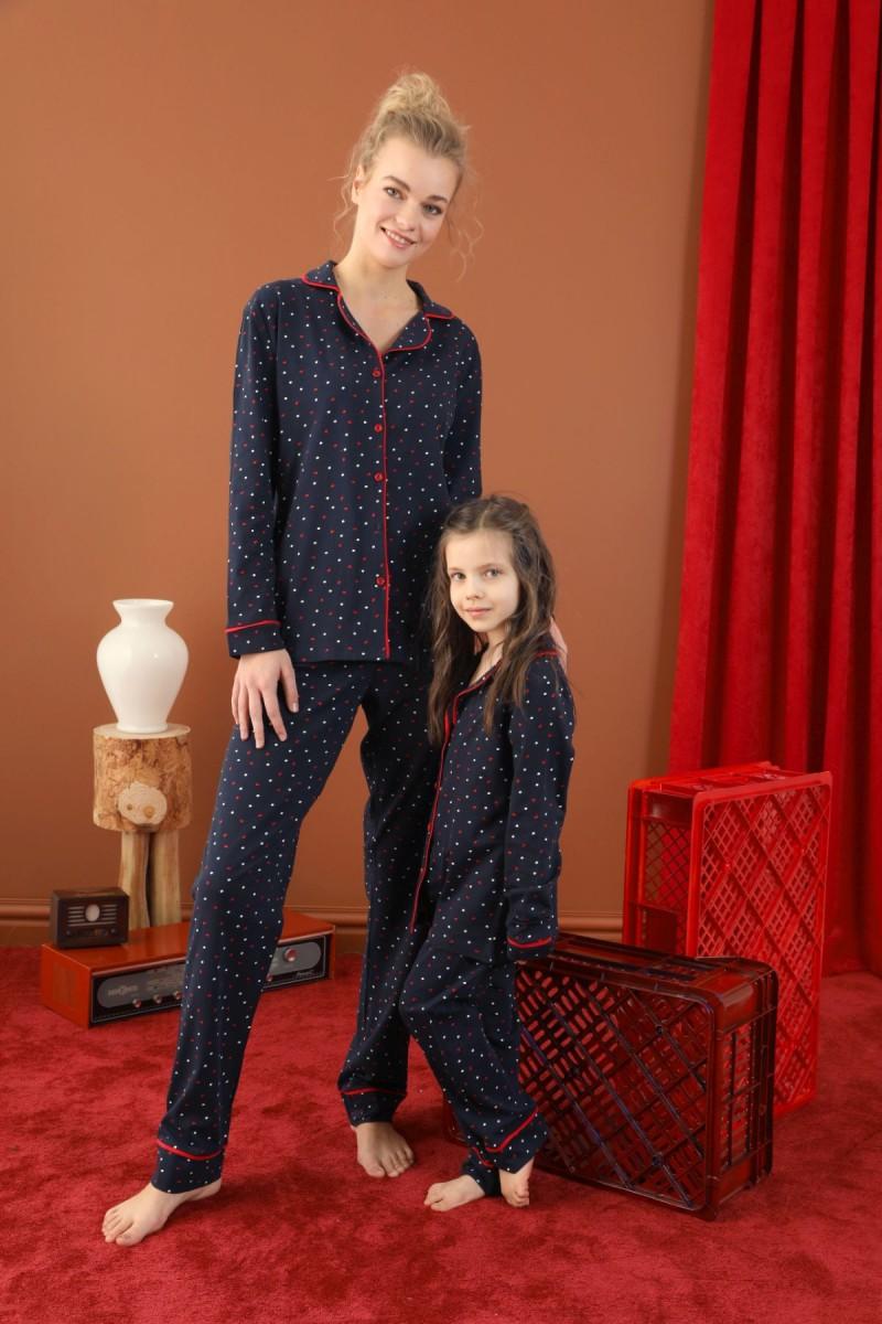 SİYAH İNCİ - Pamuklu Likralı Düğmeli Biyeli Pijama Takım 21273044