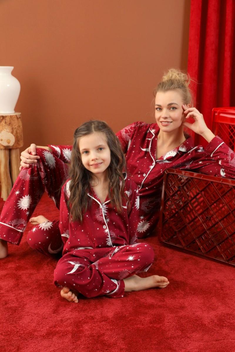 SİYAH İNCİ - Pamuklu Likralı Düğmeli Biyeli Pijama Takım 21273046