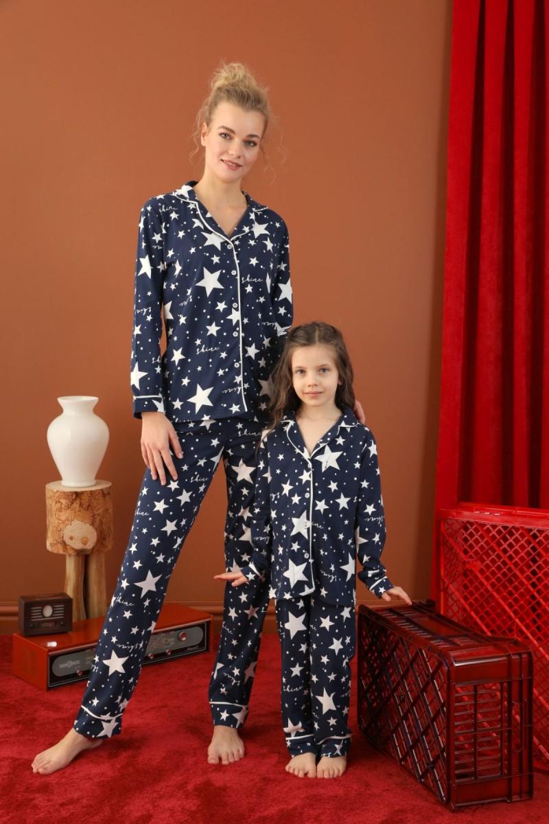 SİYAH İNCİ - Pamuklu Likralı Düğmeli Biyeli Pijama Takım 21273053