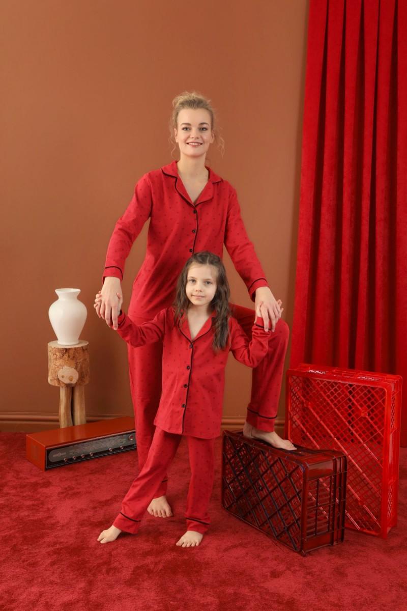 SİYAH İNCİ - Pamuklu Likralı Düğmeli Biyeli Pijama Takım 21273058