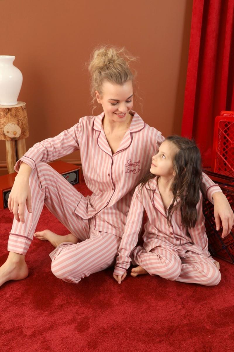 SİYAH İNCİ - Pamuklu Likralı Düğmeli Biyeli Pijama Takım 21273065