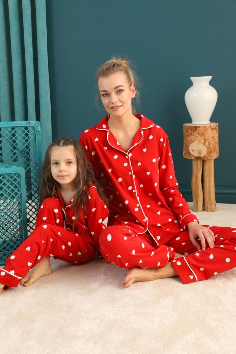 SİYAH İNCİ - Pamuklu Likralı Düğmeli Biyeli Pijama Takım 21273073