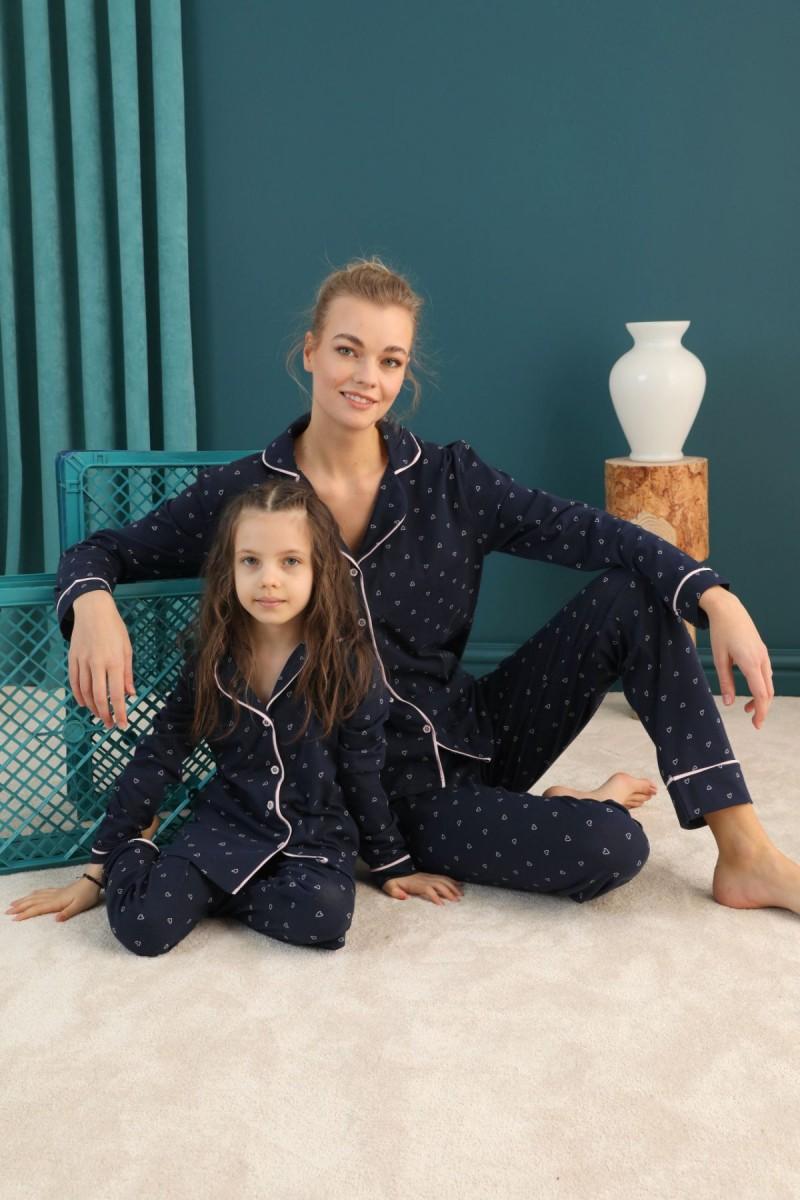 SİYAH İNCİ - Pamuklu Likralı Düğmeli Biyeli Pijama Takım 21273078