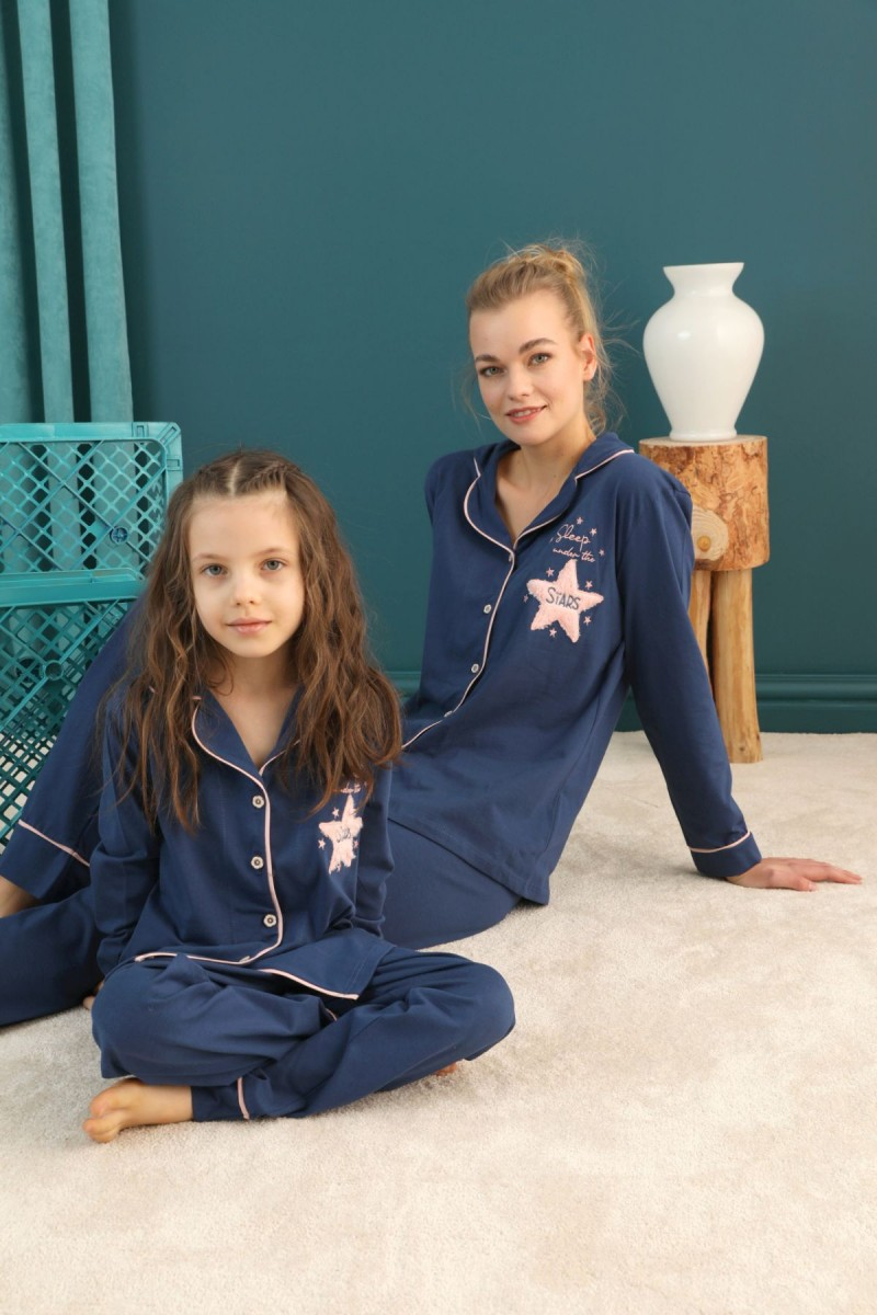 SİYAH İNCİ - Pamuklu Likralı Düğmeli Biyeli Pijama Takım 21273081