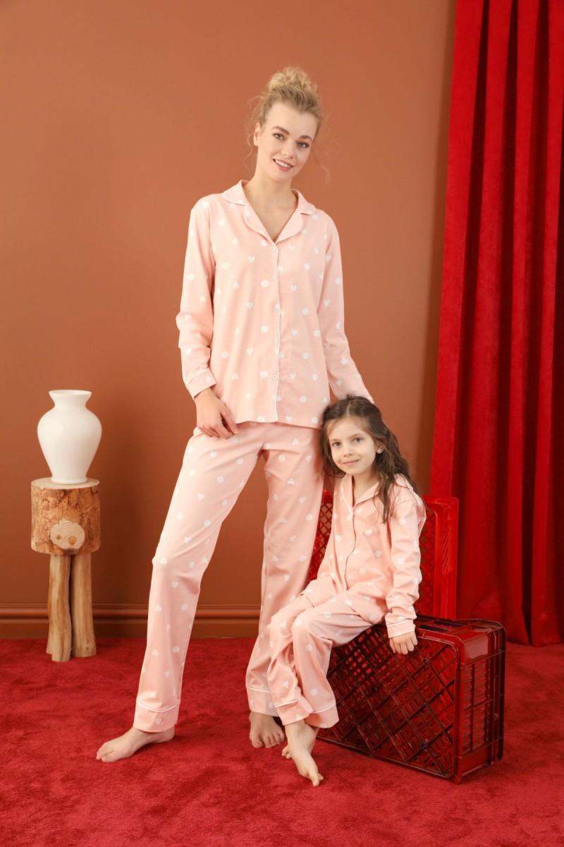 SİYAH İNCİ - Pamuklu Likralı Düğmeli Biyeli Pijama Takım 21273087