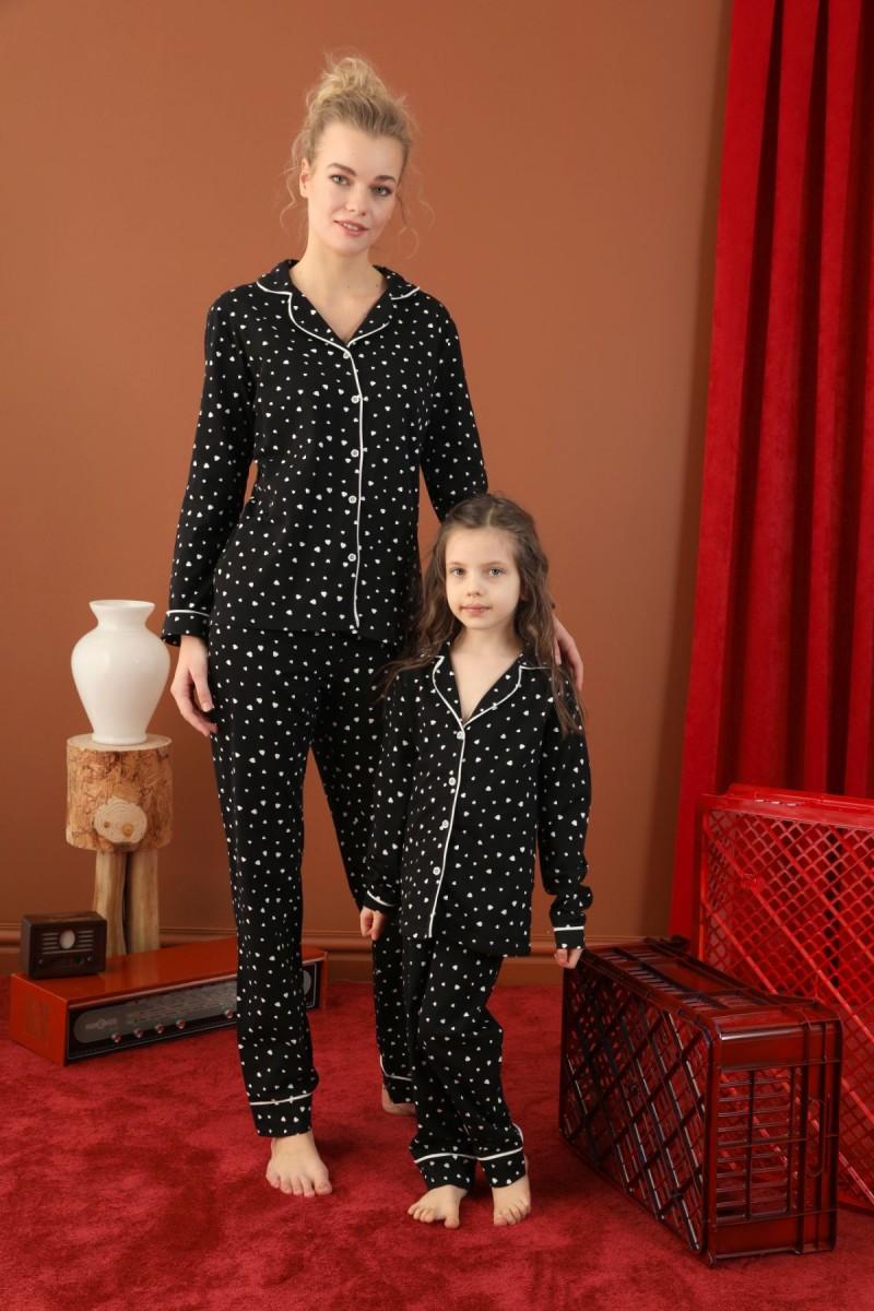 SİYAH İNCİ - Pamuklu Likralı Düğmeli Biyeli Pijama Takım 21273088