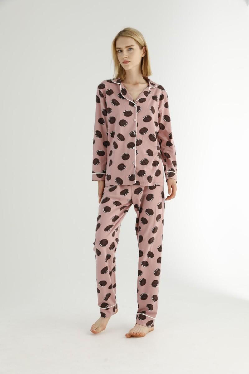 SİYAH İNCİ - Pamuklu Likralı Düğmeli Biyeli Pijama Takım 21273091